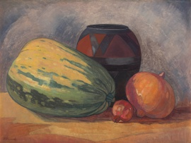 Jacob Hendrik Pierneef; Still Life with Gourds, a Pomegranate and an African Clay Pot
