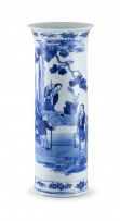 A Chinese blue and white sleeve vase, Qing Dynasty, 19th century