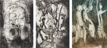 Stompie Selibe; Abstract Figures and Faces, three