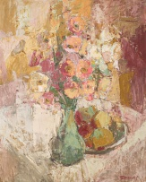 Frank Spears; Pink and White Poppies and Fruit Bowl