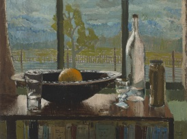 Larry Scully; Still Life with Orange, Glasses and Bottles