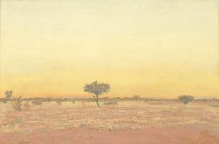 Adolph Jentsch; Sunset Landscape with Trees