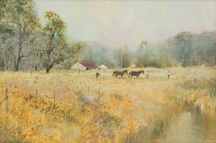 Christopher Tugwell; Farm Landscape with Horses Ploughing