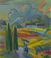 Maggie Laubser; Landscape with Woman Carrying a Bundle