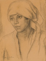 Maggie Laubser; Portrait of a Woman with a Headscarf