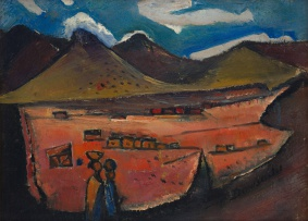Pranas Domsaitis; Landscape with Figures and Distant Dwellings