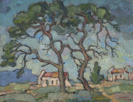 Gregoire Boonzaier; Two Trees and Cottages in the Background