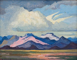 Jacob Hendrik Pierneef; Landscape with Pink Mountains