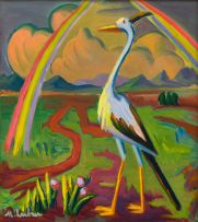 Maggie Laubser; Bird in a Landscape with Rays