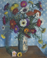 Alfred Neville Lewis; Flowers in a Blue and White Vase